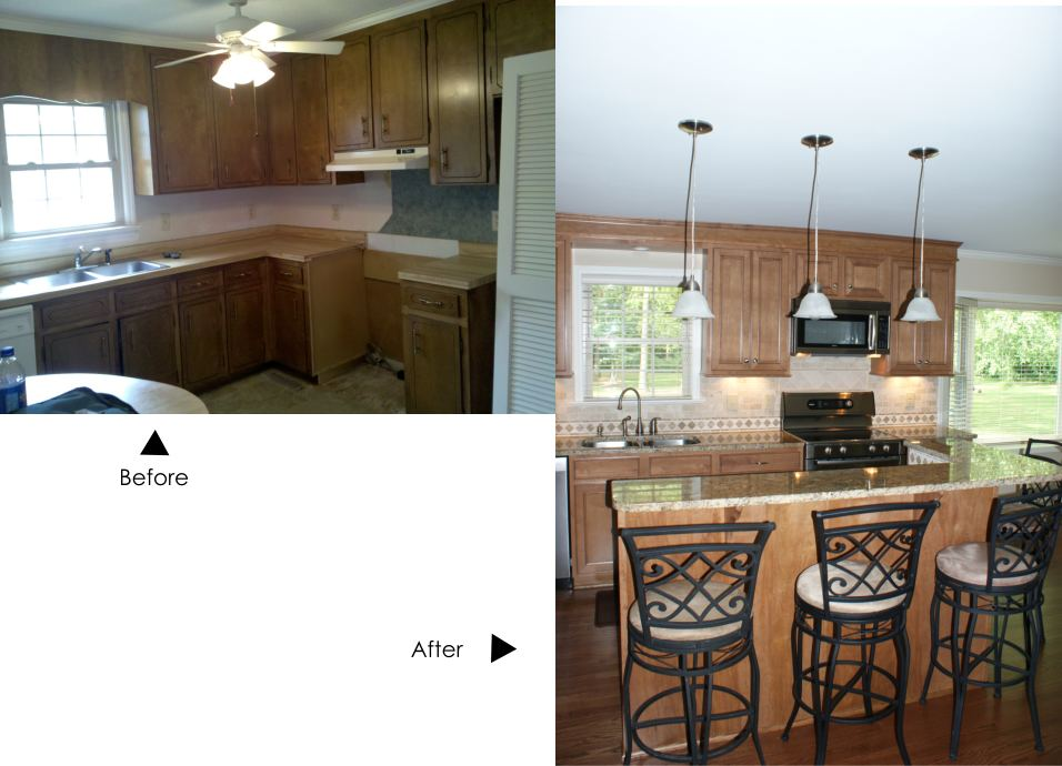 Before and after pic of Johnston County kitchen renovation