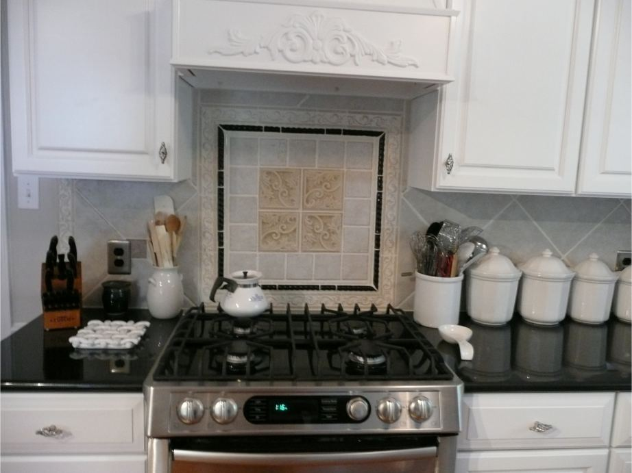 Fancy tile backsplash in Raleigh