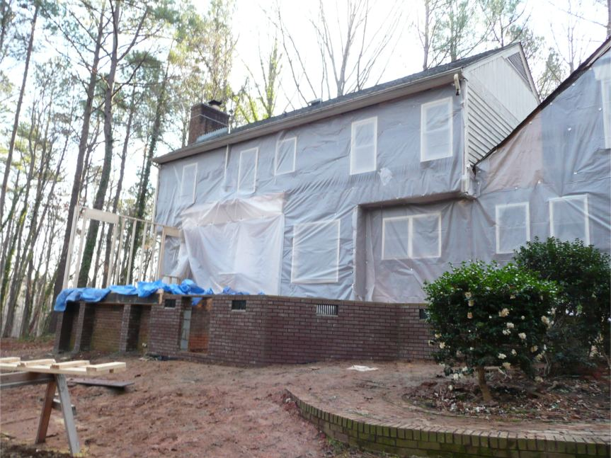 Exterior wall removed in Wake County